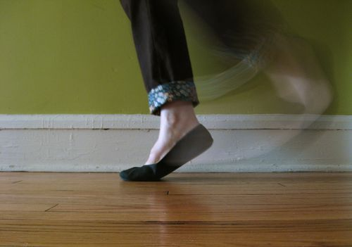 stepping away in black flats by bricolagelife